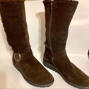 Stuart Weitzman Brown Suede Boots-Faux Fur Lining